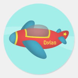 Cute Colourful Aeroplane Jet for Kids Round Sticker