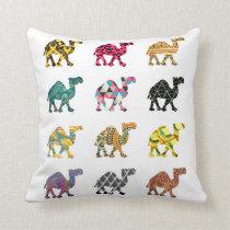 Cute colourful camel design throw pillow