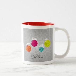 Cute colourful Christmas bauble decorations Two-Tone Coffee Mug
