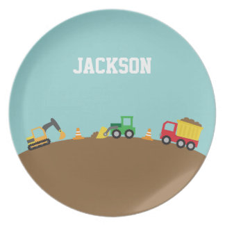 Cute Colourful Construction Vehicles Boys Plate