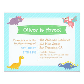 Cute Colourful Dinosaur Birthday Party Card