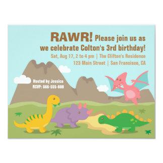 "Cute Colourful Dinosaur Birthday Party 4.25"" X 5.5"" Invitation Card"