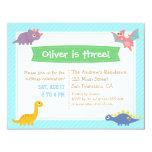 Cute Colourful Dinosaur Birthday Party 4.25x5.5 Paper Invitation Card