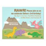 Cute Colourful Dinosaur Birthday Party Invites