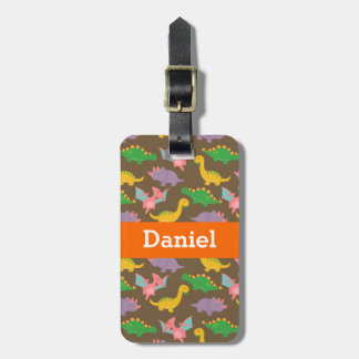 Cute Colourful Dinosaur Pattern for Kids Luggage Tag
