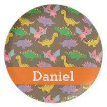 Cute Colourful Dinosaur Pattern for Kids Melamine Plate