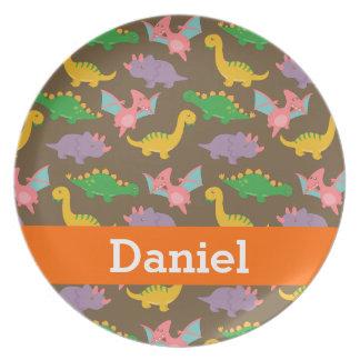 Cute Colourful Dinosaur Pattern for Kids Melamine Plate