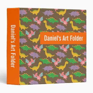 Cute Colourful Dinosaur Pattern Kids Binder