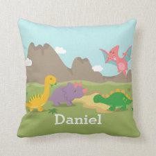 Cute Colourful Dinosaurs For Boys Room Throw Pillows