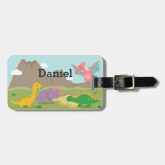 Cute Colourful Dinosaurs For kids Bag Tag