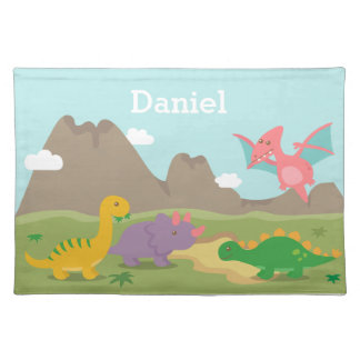 Cute Colourful Dinosaurs For kids Cloth Placemat