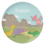 Cute Colourful Dinosaurs For kids Dinner Plate