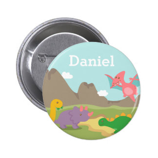 Cute Colourful Dinosaurs For Kids, Name Button