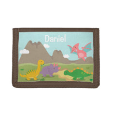 Cute Colourful Dinosaurs For Kids Tri-fold Wallets at Zazzle