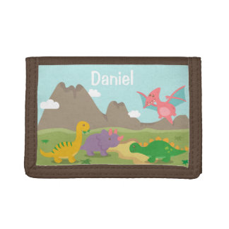 Cute Colourful Dinosaurs For Kids Tri-fold Wallets