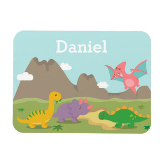 Cute Colourful Dinosaurs For little kids Vinyl Magnets