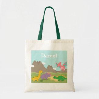 Cute Colourful Dinosaurs Kids Tote Bag