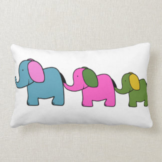 Cute colourful elephant cartoons good luck throw pillows