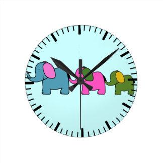 Cute colourful elephant cartoons good luck round clock