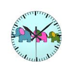 Cute colourful elephant cartoons good luck round wall clocks