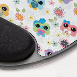 Cute colourful funny trendy heart owlspattern gel mouse pad