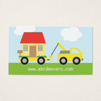 Cute Colourful Home Movers Tow Truck Business Card