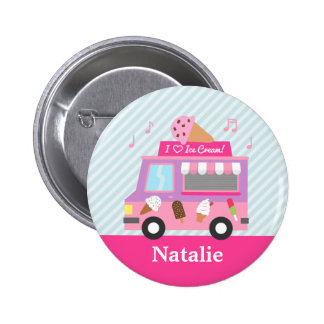 Cute Colourful Ice Cream Truck For Girls Pinback Button