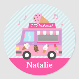 Cute Colourful Ice Cream Truck For Girls Classic Round Sticker