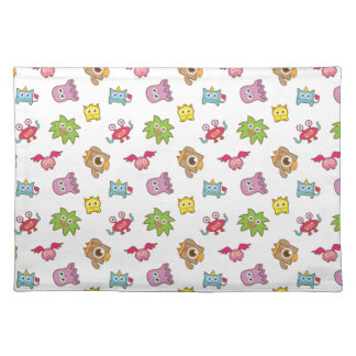 Cute Colourful Little Monsters Pattern For Kids Cloth Placemat