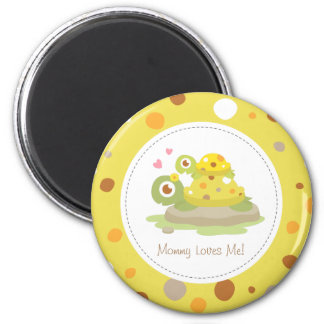 Cute Colourful Mommy Turtle and Child 2 Inch Round Magnet