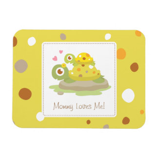 Cute Colourful Mommy Turtle and Child Rectangular Photo Magnet