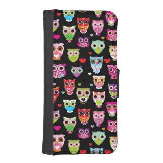 cute colourful owl kids pattern phone wallet case