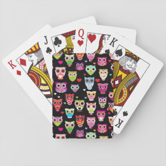 cute colourful owl kids pattern playing cards