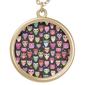 cute colourful owl kids pattern round pendant necklace