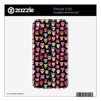 cute colourful owl kids pattern iPhone 4S skins