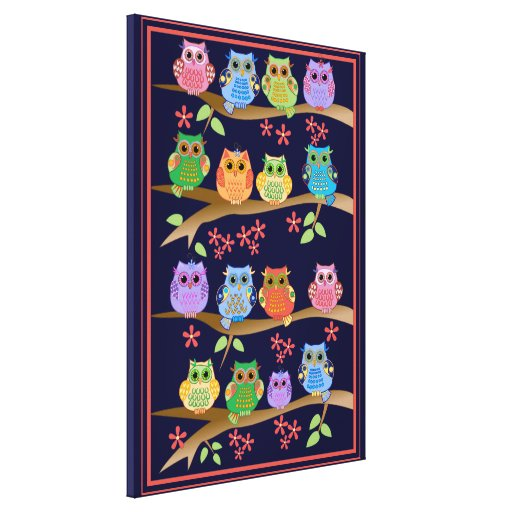 Cute colourful Owls on Branches Canvas Print