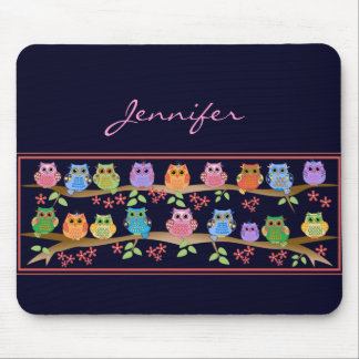 Cute colourful Owls on Brenches & Name Mousepad