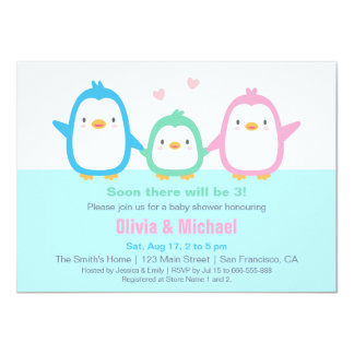 Cute Colourful Penguin Baby Shower Invitations