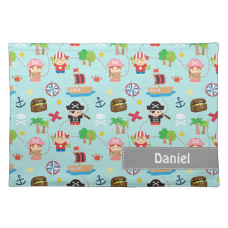 Cute Colourful Pirate Treasure Pattern For Kids Cloth Placemat