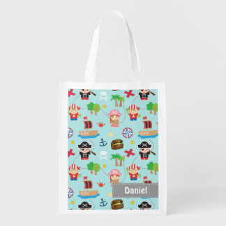Cute Colourful Pirate Treasure Pattern For Kids Reusable Grocery Bag