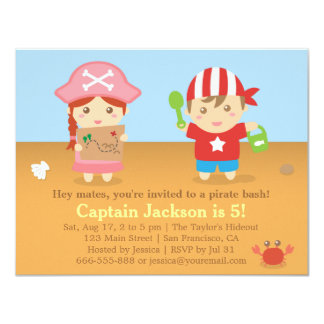 Cute Colourful Pirates Birthday Party Card