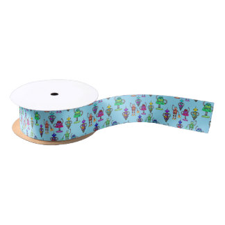 Cute colourful robots on blue background satin ribbon