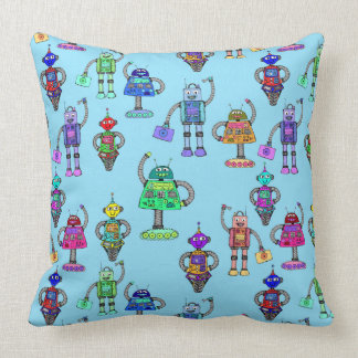 Cute colourful robots on blue background throw pillow