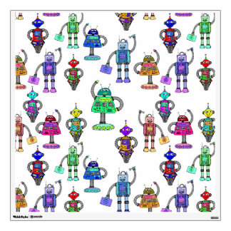 Cute colourful robots on white background wall decal