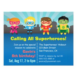 Cute Colourful Superhero Birthday Party Custom Announcements