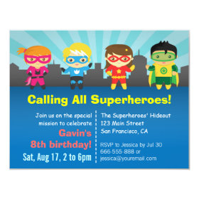 Cute Colourful Superhero Birthday Party 4.25x5.5 Paper Invitation Card