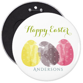 CUTE COLOURFUL WATERCOLOR EASTER EGGS MONOGRAM BUTTON