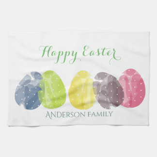 CUTE COLOURFUL WATERCOLOR EASTER EGGS MONOGRAM HAND TOWEL