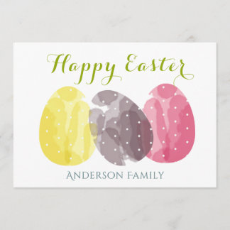 CUTE COLOURFUL WATERCOLOR EASTER EGGS MONOGRAM HOLIDAY CARD