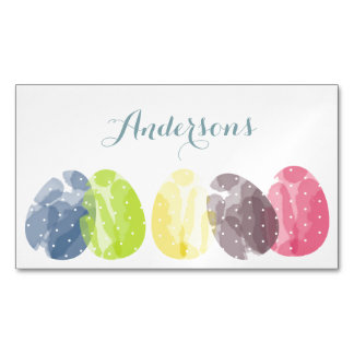 CUTE COLOURFUL WATERCOLOR EASTER EGGS MONOGRAM MAGNETIC BUSINESS CARD